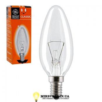 Лампа накаливания свеча ДС 60Вт 220В Е27 60 C1/CL/E27 GE