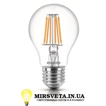 Лампа светодиодная 7.5Вт LED Filament 7,5W E27 WW A60 CL PHILIPS
